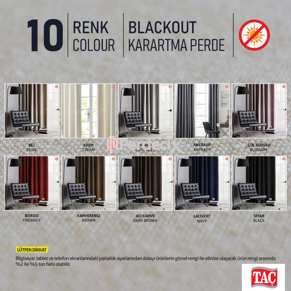 Taç Blackout Curtain 10 Colour Tone -  Straight  Antrasit