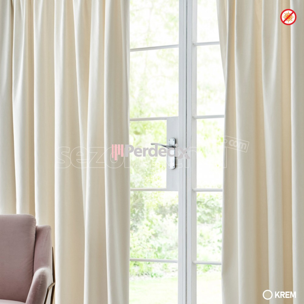 Taç Blackout Curtain 10 Colour Tone -  Straight  Krem