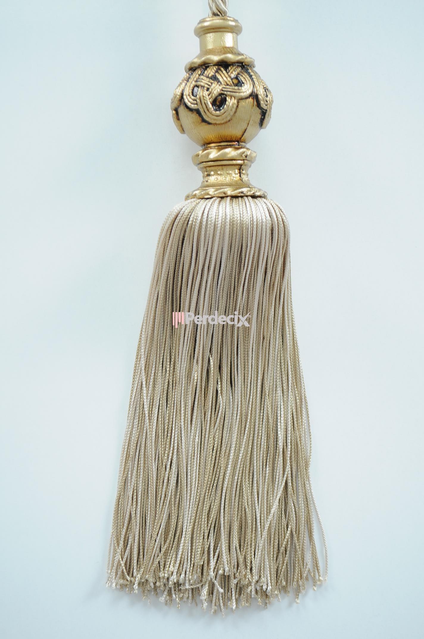 Altın Eskitme Uzun Braçol Fon Bağı - Krem / Bej