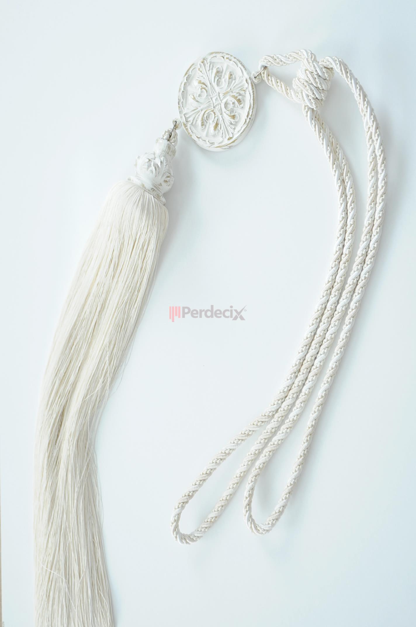 Beyaz Eskitme Braçol Fon Bağı - Bej / Ekru