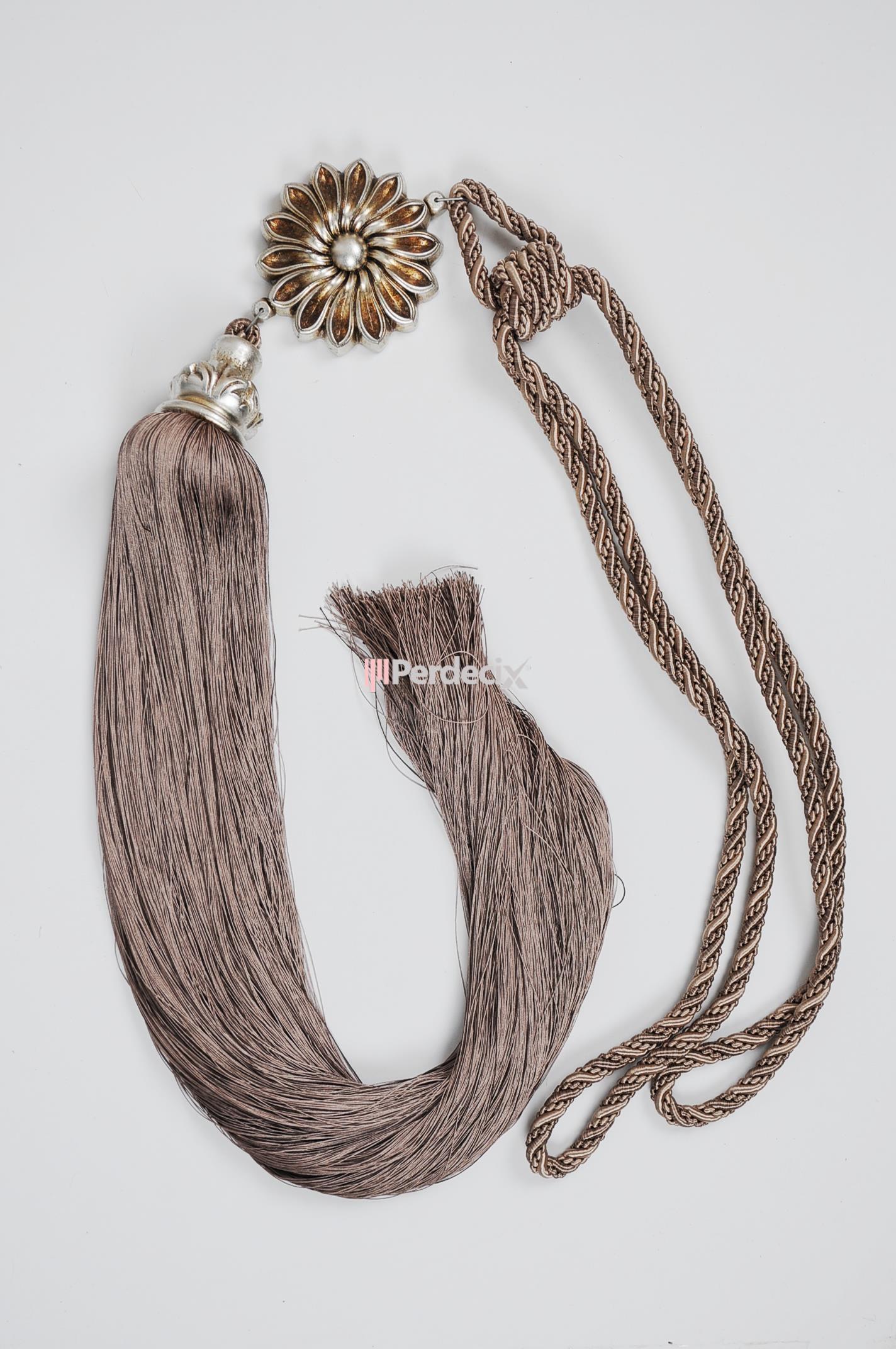 Çiçek Desenli Uzun Braçol Fon Bağı 08 - Gümüş Eskitme