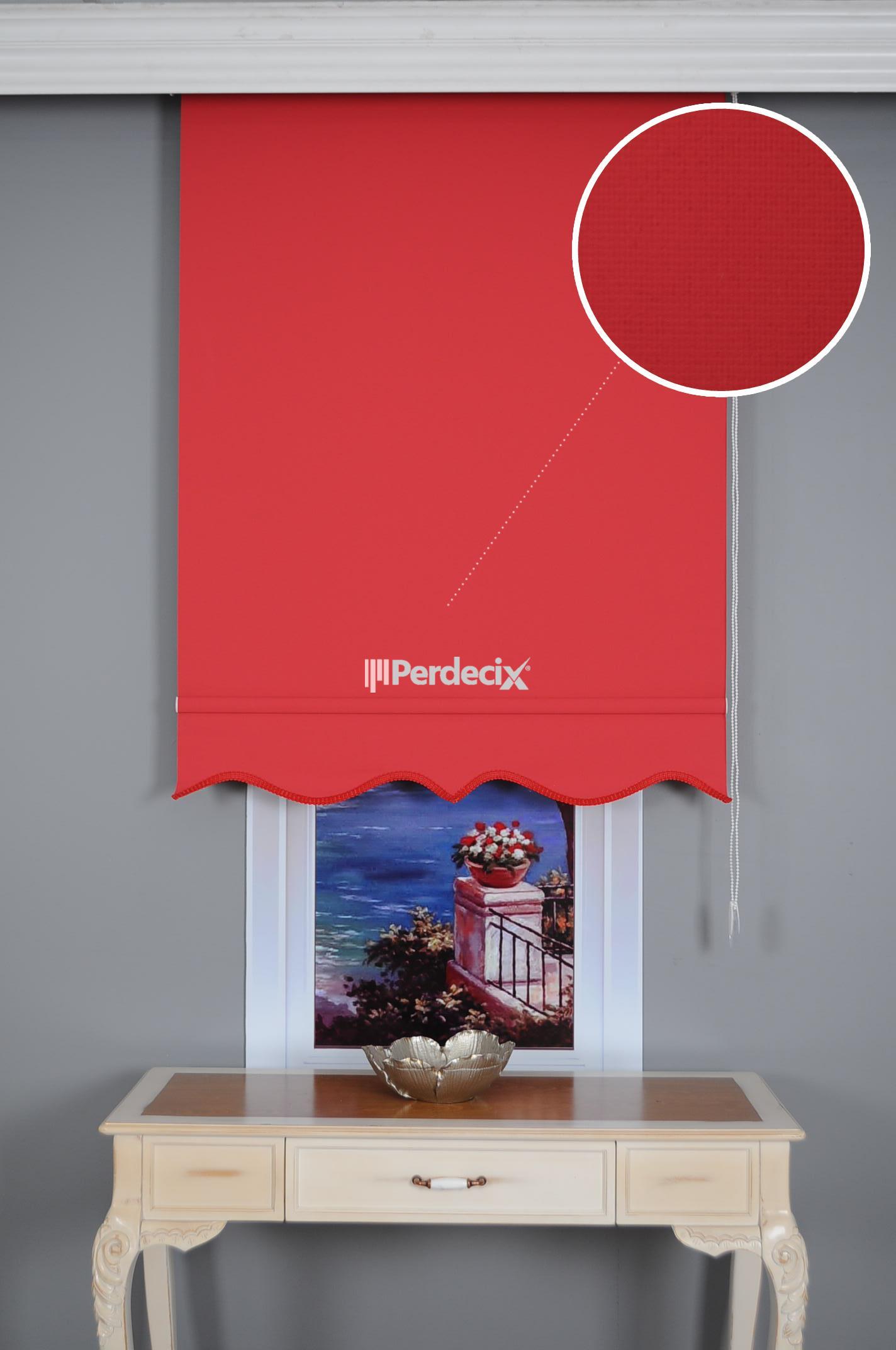Düz Stor Perde - Kırmızı