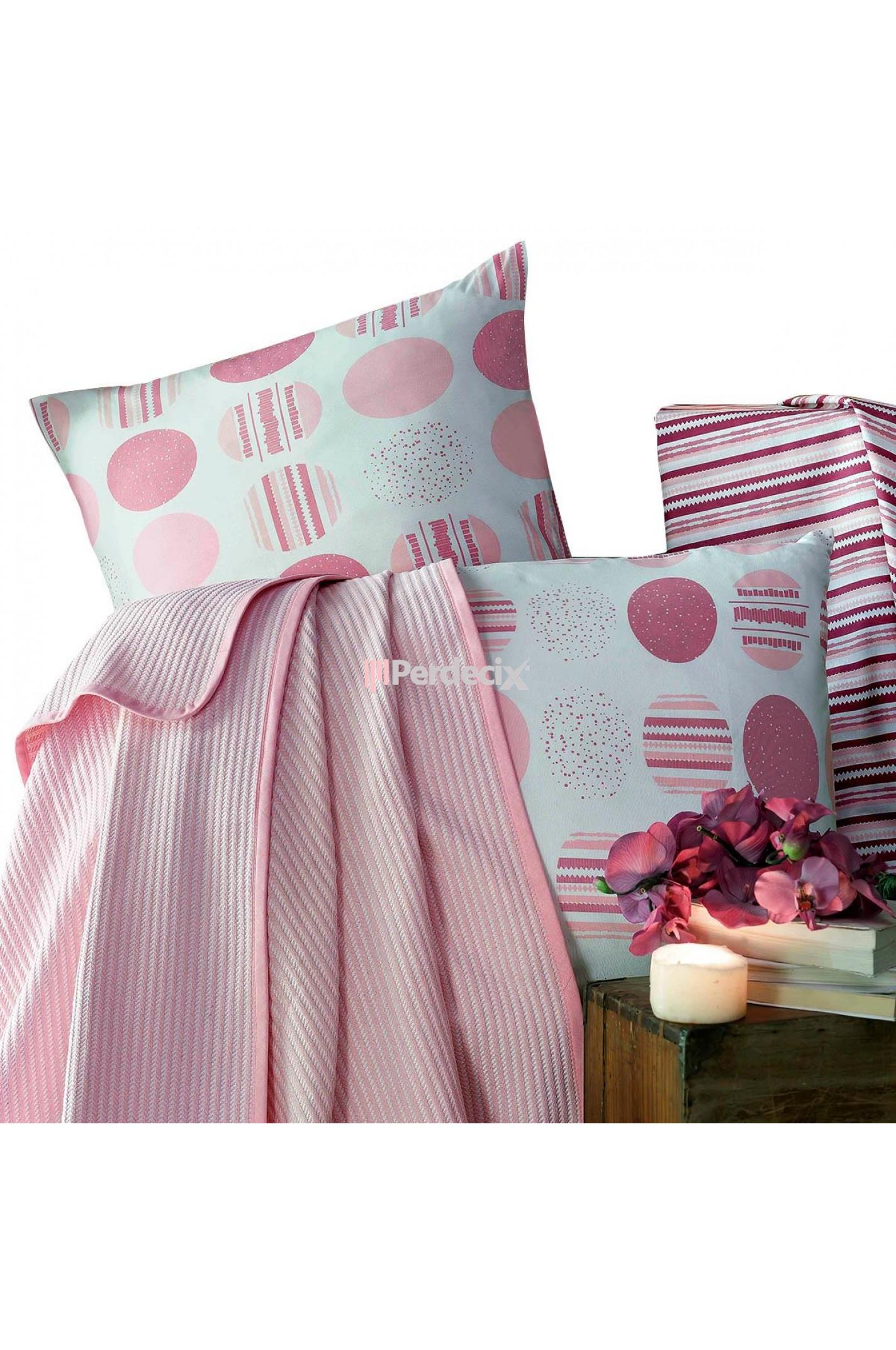 Evim Home Pink Hopes Çift Kişilik Lüx Kutulu Pike Takımı - Pudra