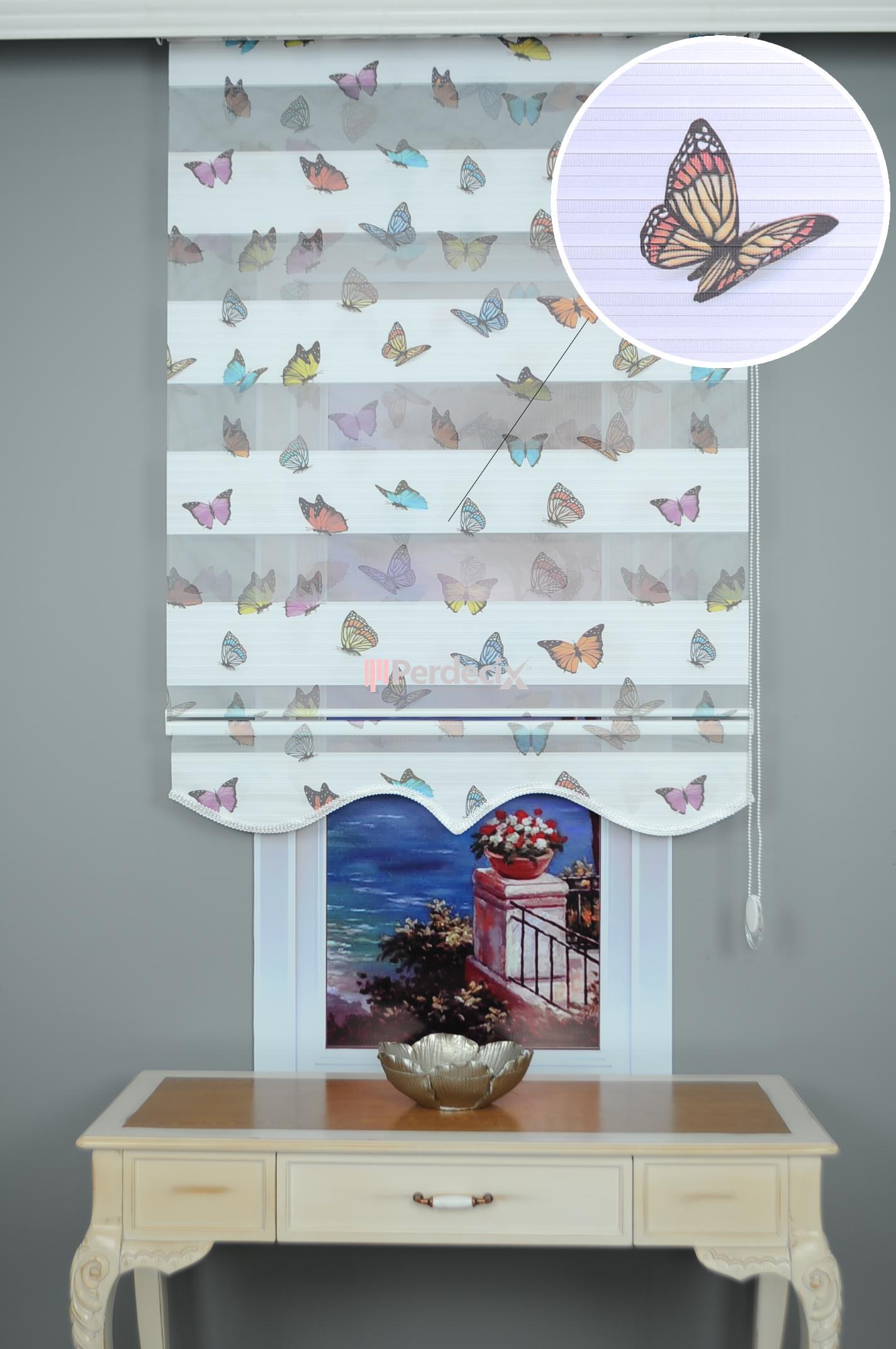 Kelebek Baskılı Modern Zebra Perde - Ekru