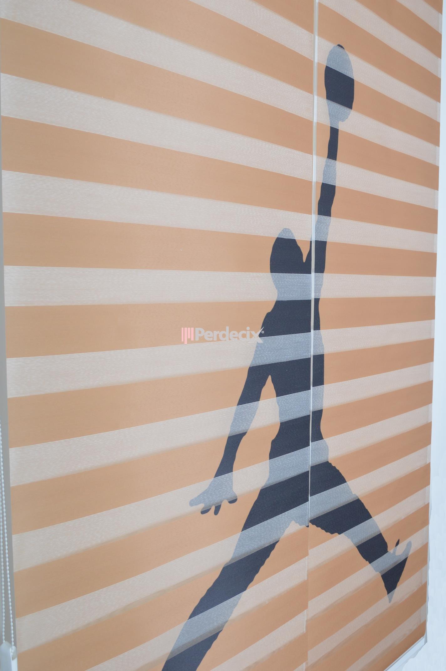 Basketbool Desenli Hazır Zebra Perde - Çok Renkli