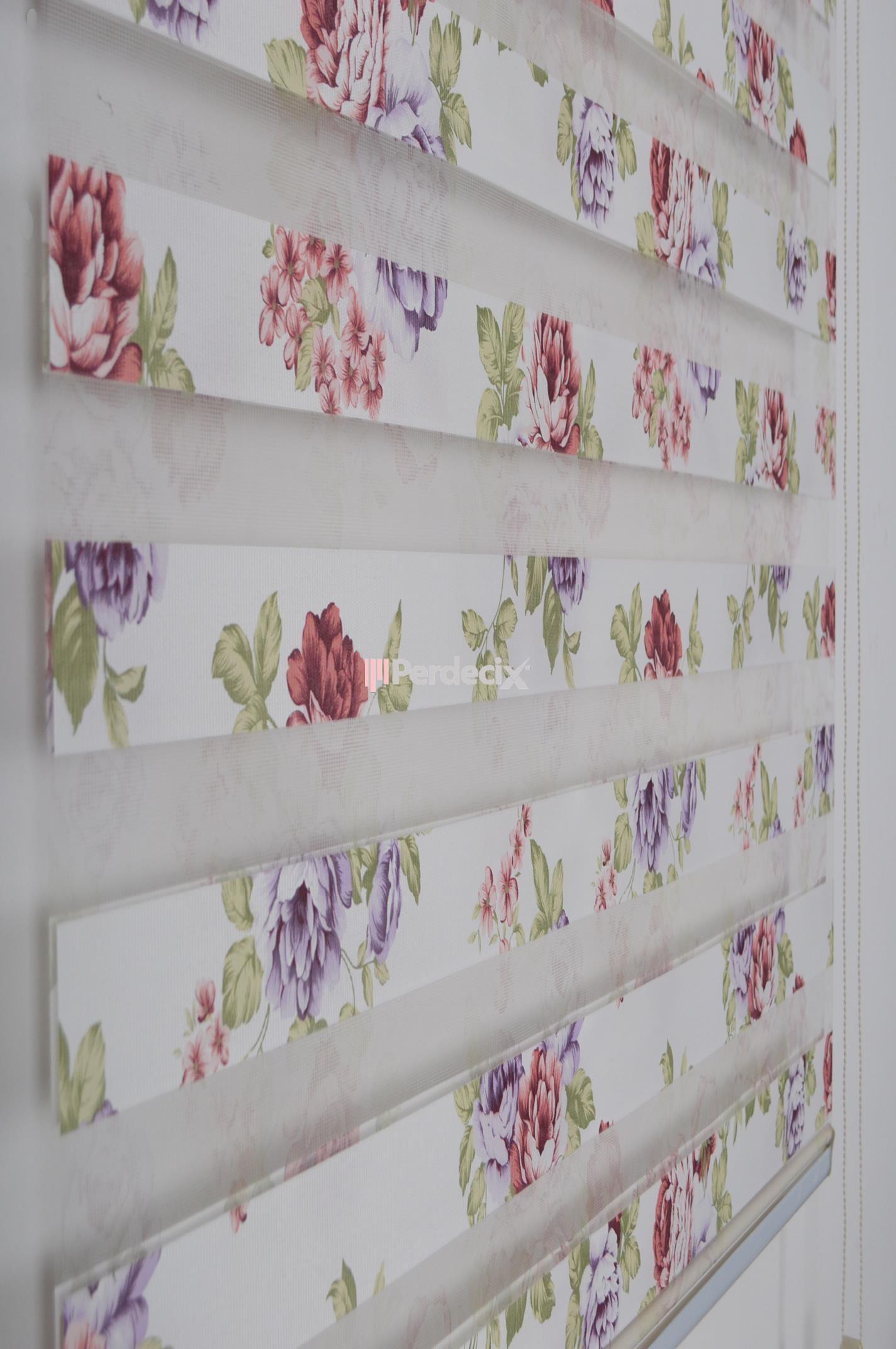 Çiçek Desenli Hazır Zebra Perde - Çok Renkli