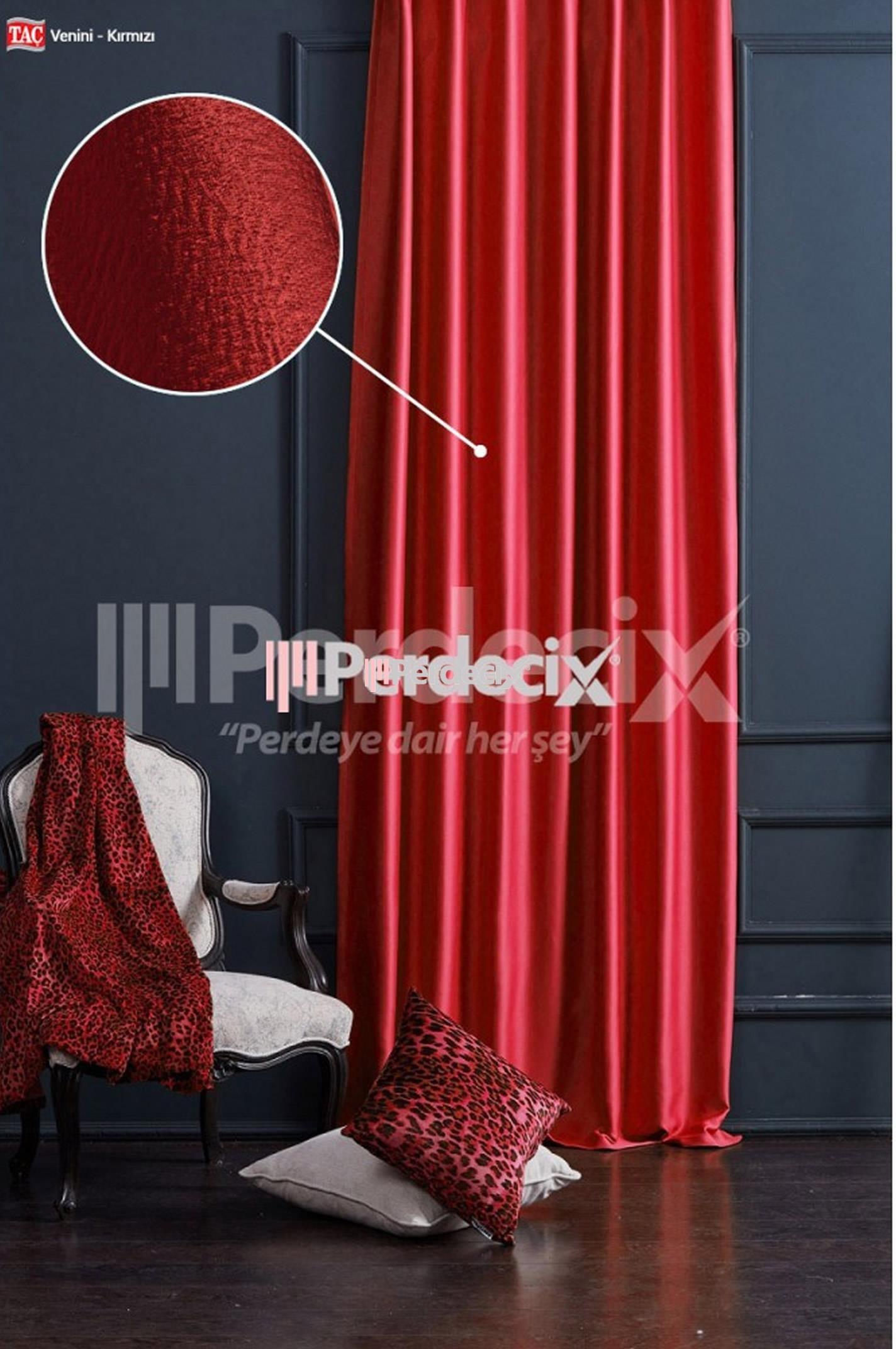 Şanzelize Fon Perde - Kırmızı