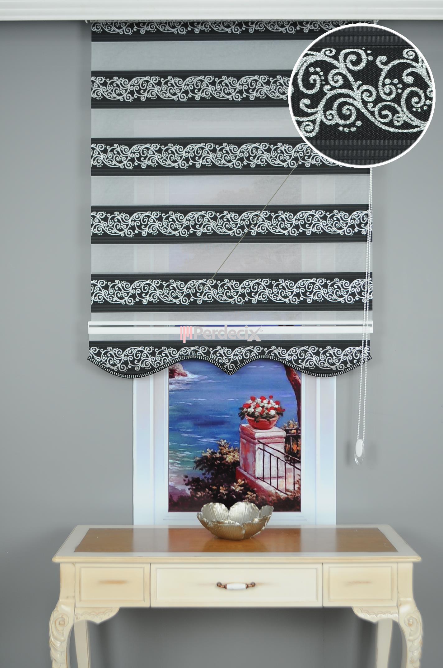 Simli Jakarlı Sarmaşık Zebra Perde - Siyah / Gümüş