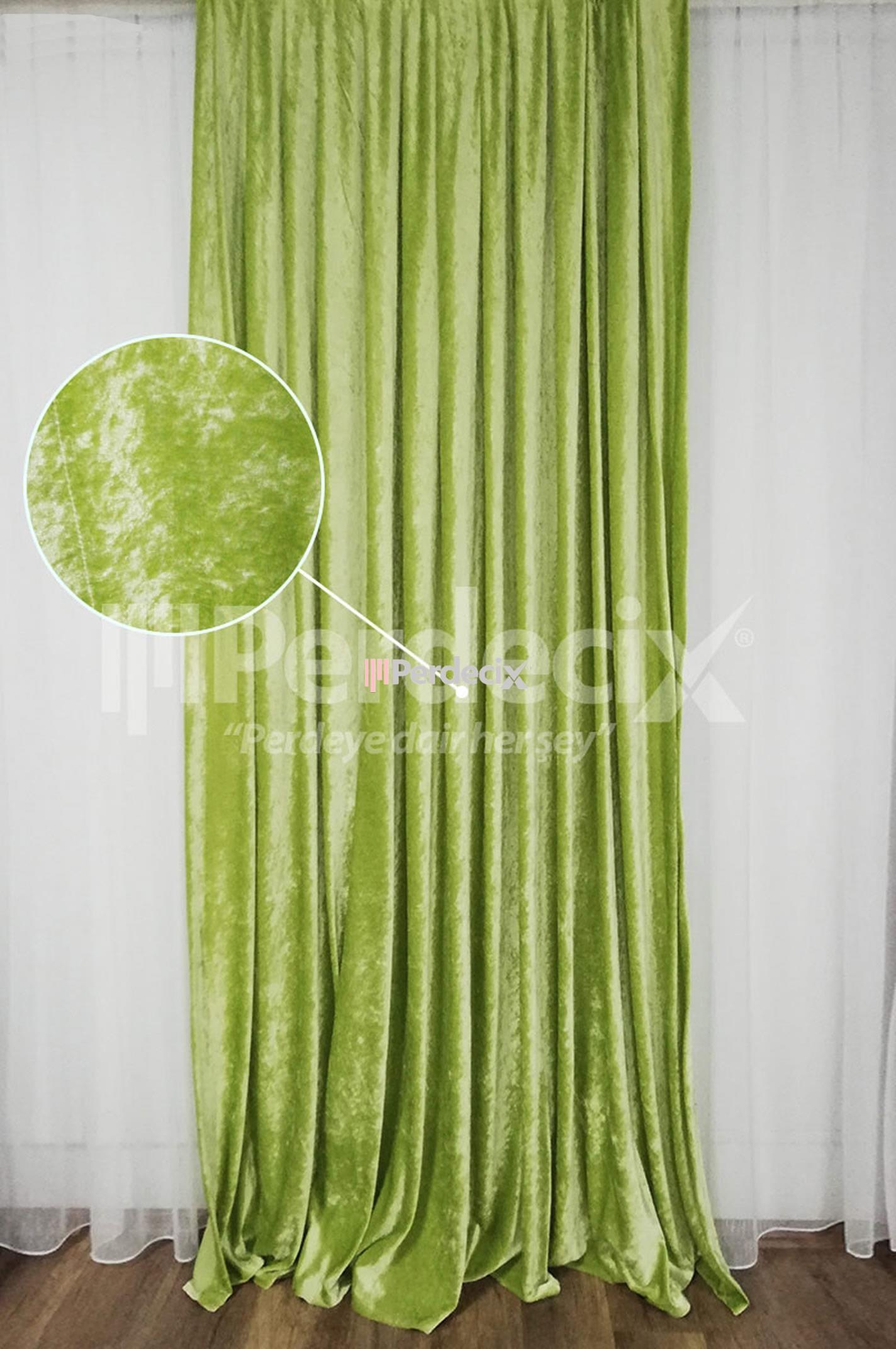 Velvet Dökümlü Kadife Fon Perde - Yeşil